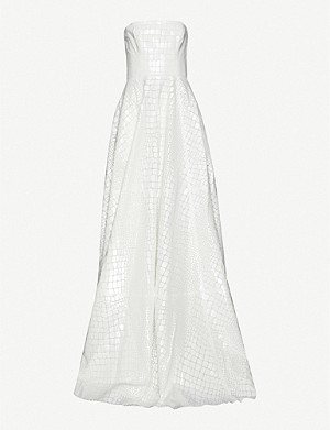 ALEX PERRY Adams crocodile-pattern strapless crepe gown