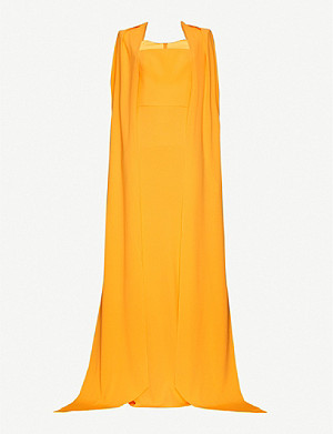 ALEX PERRY Vance cape-sleeve padded-shoulder crepe gown