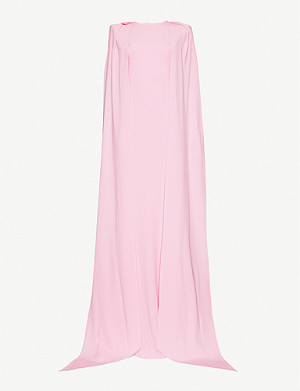 ALEX PERRY Collins cape-effect crepe gown