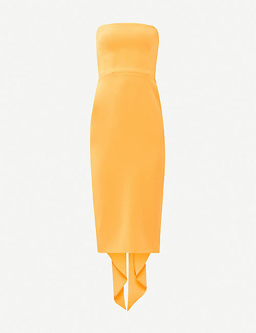 ALEX PERRY Hall strapless draped crepe midi dress