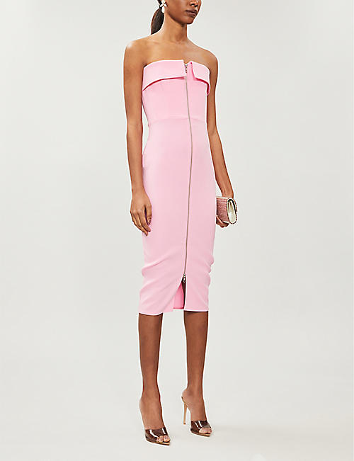ALEX PERRY Moore strapless crepe midi dress