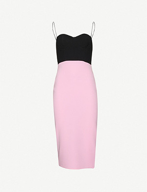 ALEX PERRY Lee colour-blocked crepe midi dress