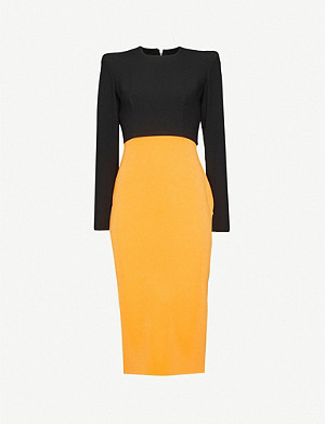 ALEX PERRY Darley colour-blocked crepe midi dress