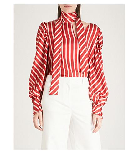 Juliette Striped Silk-Blend Satin Blouse, Red White Stripes