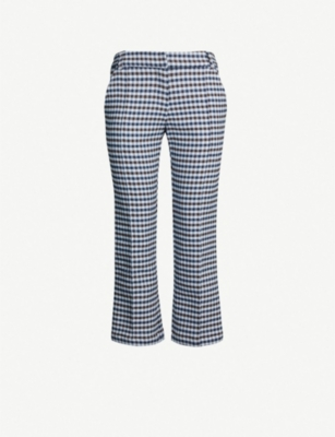 SILVIA TCHERASSI Leira checked straight cotton-blend trousers