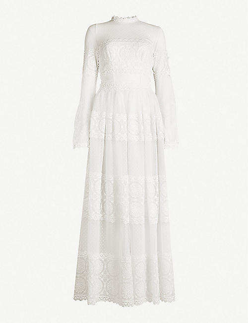 COSTARELLOS Contrast-panel lace gown