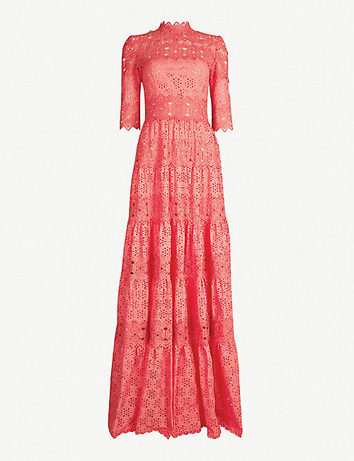 COSTARELLOS Floral-lace-embroidered silk-blend gown