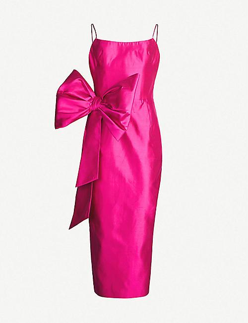 b3c76047ed20 RASARIO Bow-embellished silk-dupioni midi corset dress