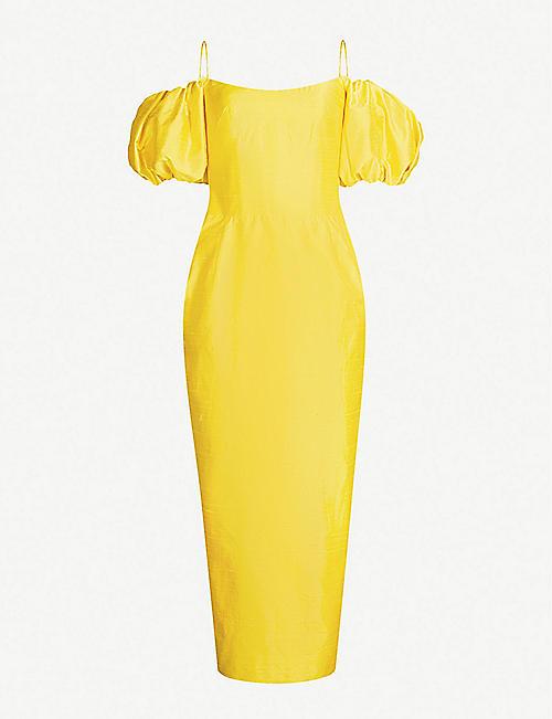538718b3dd1d RASARIO Off-the-shoulder silk-dupioni corset dress