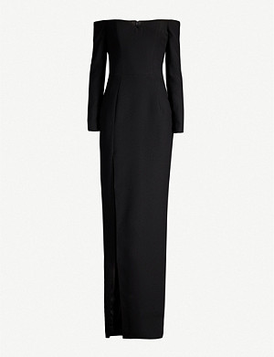 RASARIO Off-the-shoulder crepe gown