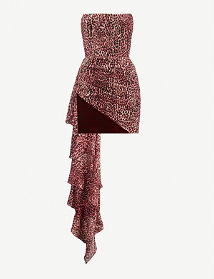 RASARIO Draped leopard-print crepe and velvet midi dress