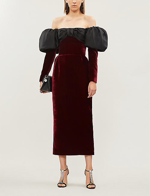RASARIO Off-the-shoulder velvet and satin dress