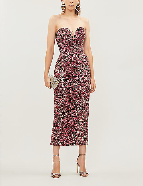 RASARIO Sleeveless leopard-print crepe midi dress