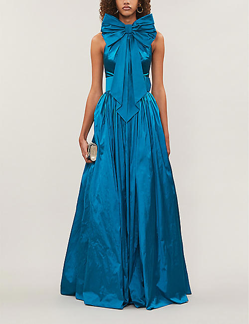 RASARIO Bow-embellished silk-dupioni gown