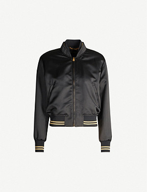 VERSACE Medusa-embroidery cropped satin bomber jacket