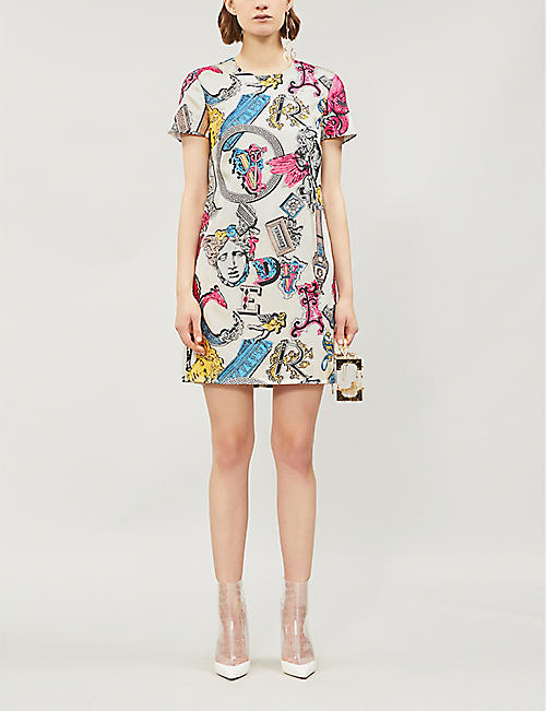 VERSACE Alphabet-print crepe dress