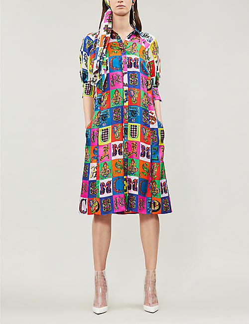 d1fa242b24a VERSACE Alphabet-print silk midi dress