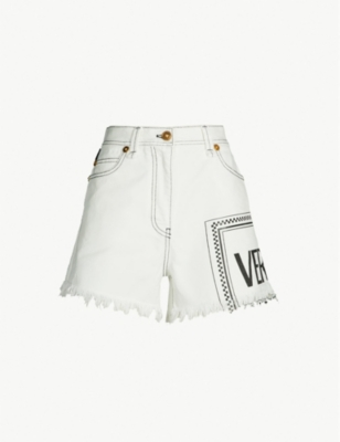 VERSACE Frayed-hem logo-print high-rise denim shorts