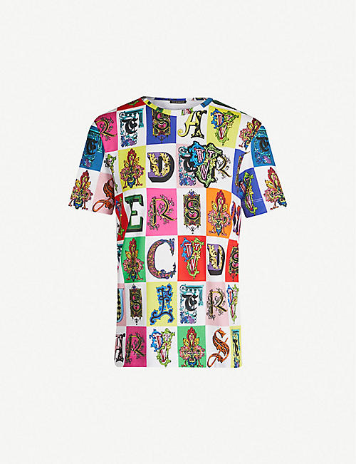 ea09f5a7 VERSACE Colour-block graphic cotton-jersey T-shirt