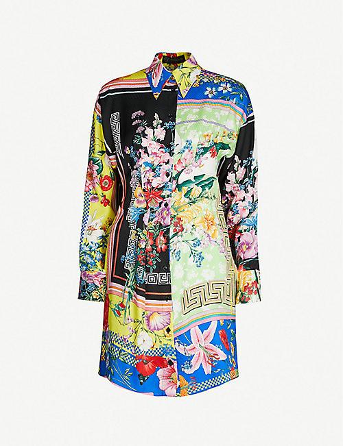 a0714ba1969c6 VERSACE Printed silk-twill mini shirt dress