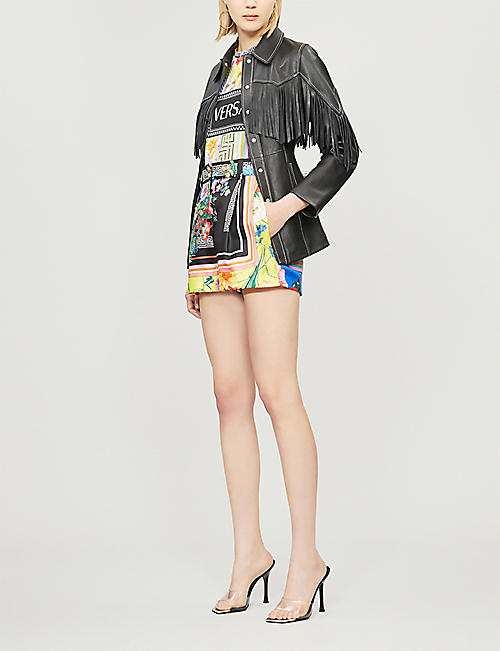 VERSACE Floral and geometric-print cotton-jersey T-shirt