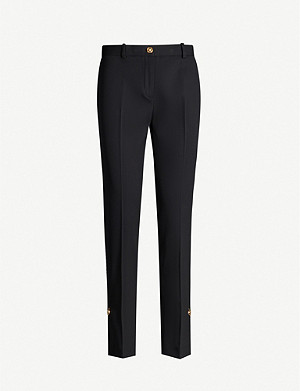 VERSACE Logo-pin high-rise stretch-wool straight-leg trousers