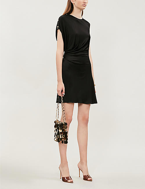 VERSACE Button-embellished stretch-jersey mini dress