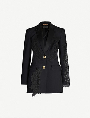 VERSACE Semi-sheer oversized lace and woven blazer
