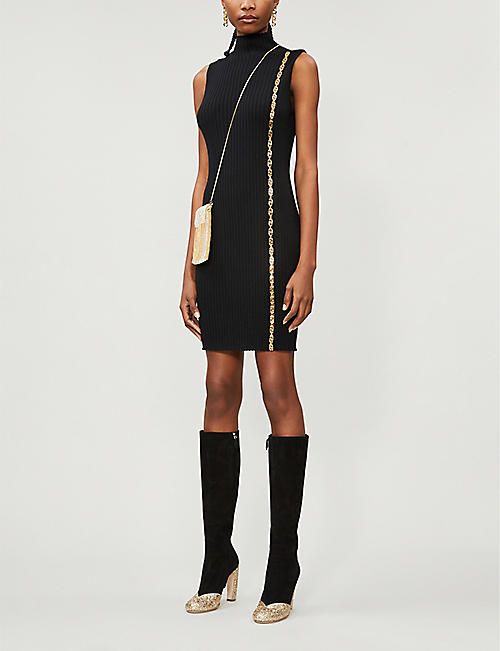 VERSACE Chain-trim high-neck wool midi dress