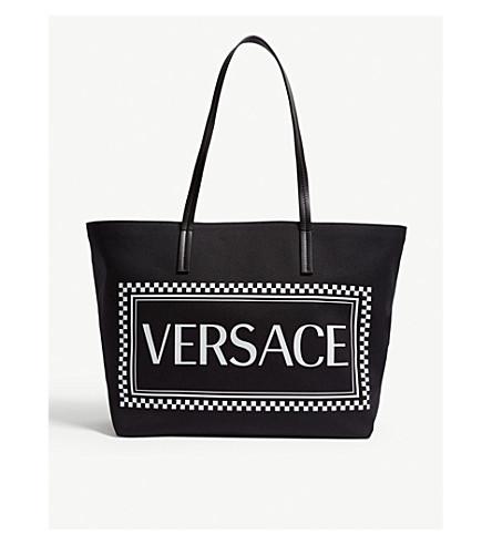 a2161ffdfd VERSACE - Logo print canvas tote bag