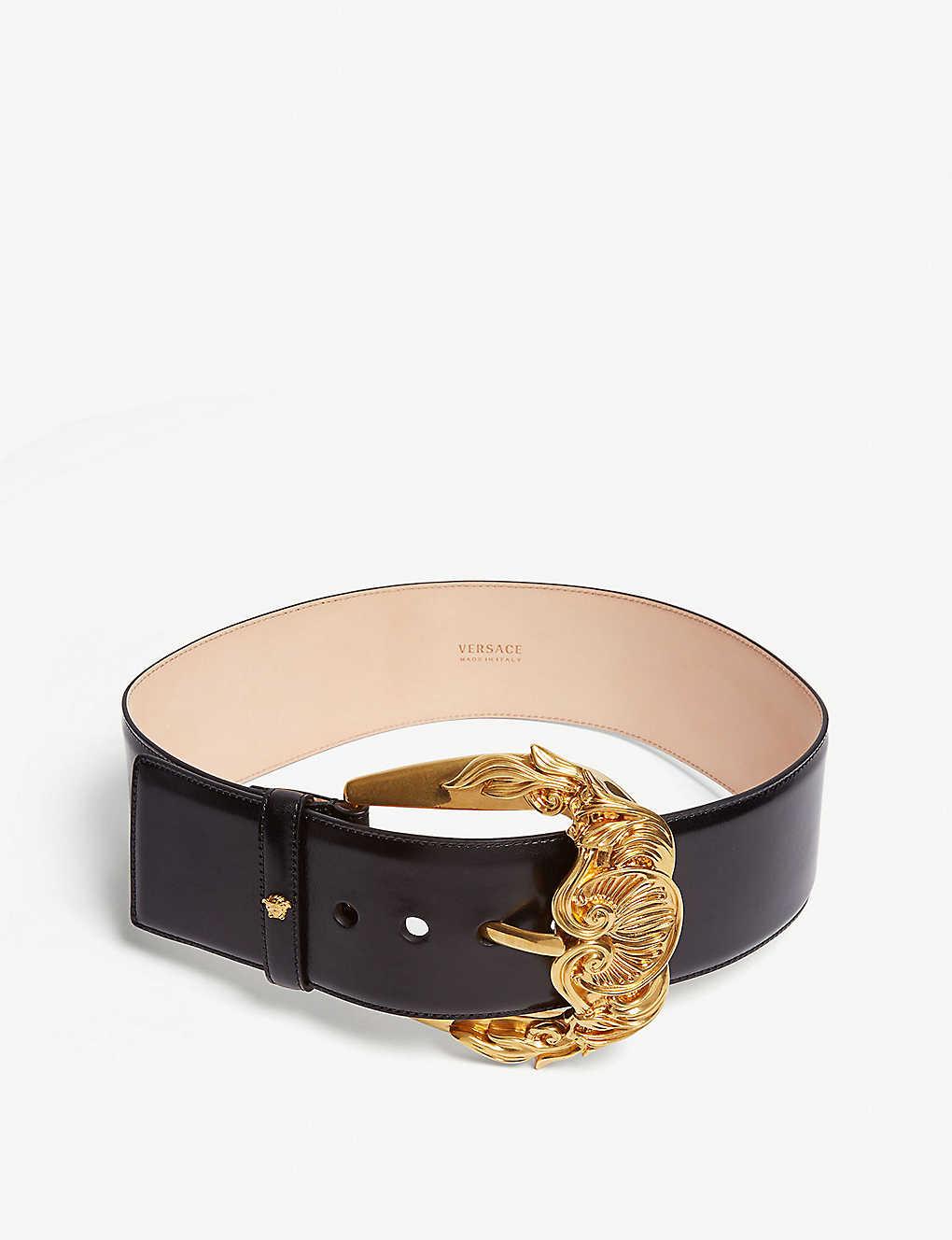 5444fc623e74a5 VERSACE - Barocco buckle leather belt | Selfridges.com
