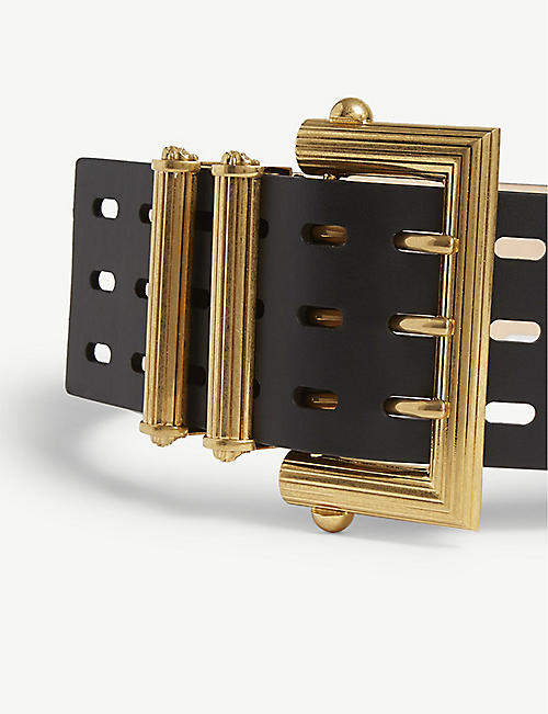 VERSACE Square buckle leather waist belt
