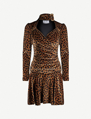 ATTICO Leopard-print velvet mini dress