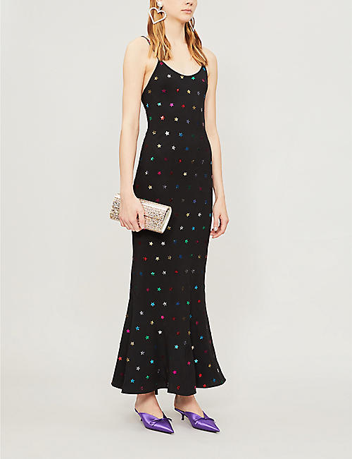 ATTICO Star sequin-embellished crepe slip dress