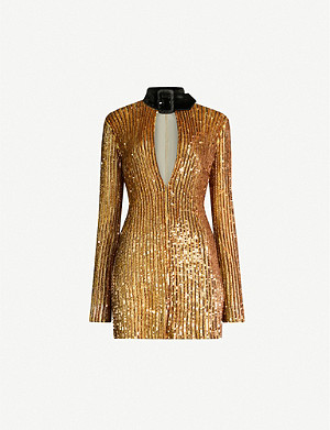 ATTICO Halterneck sequinned dress