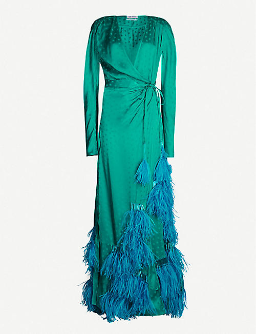 d1cf87b1455 ATTICO Feather-trim satin wrap dress