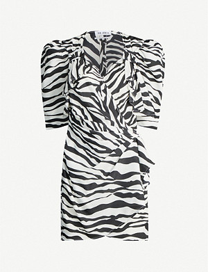 ATTICO Puffed-sleeve zebra-print crepe mini dress