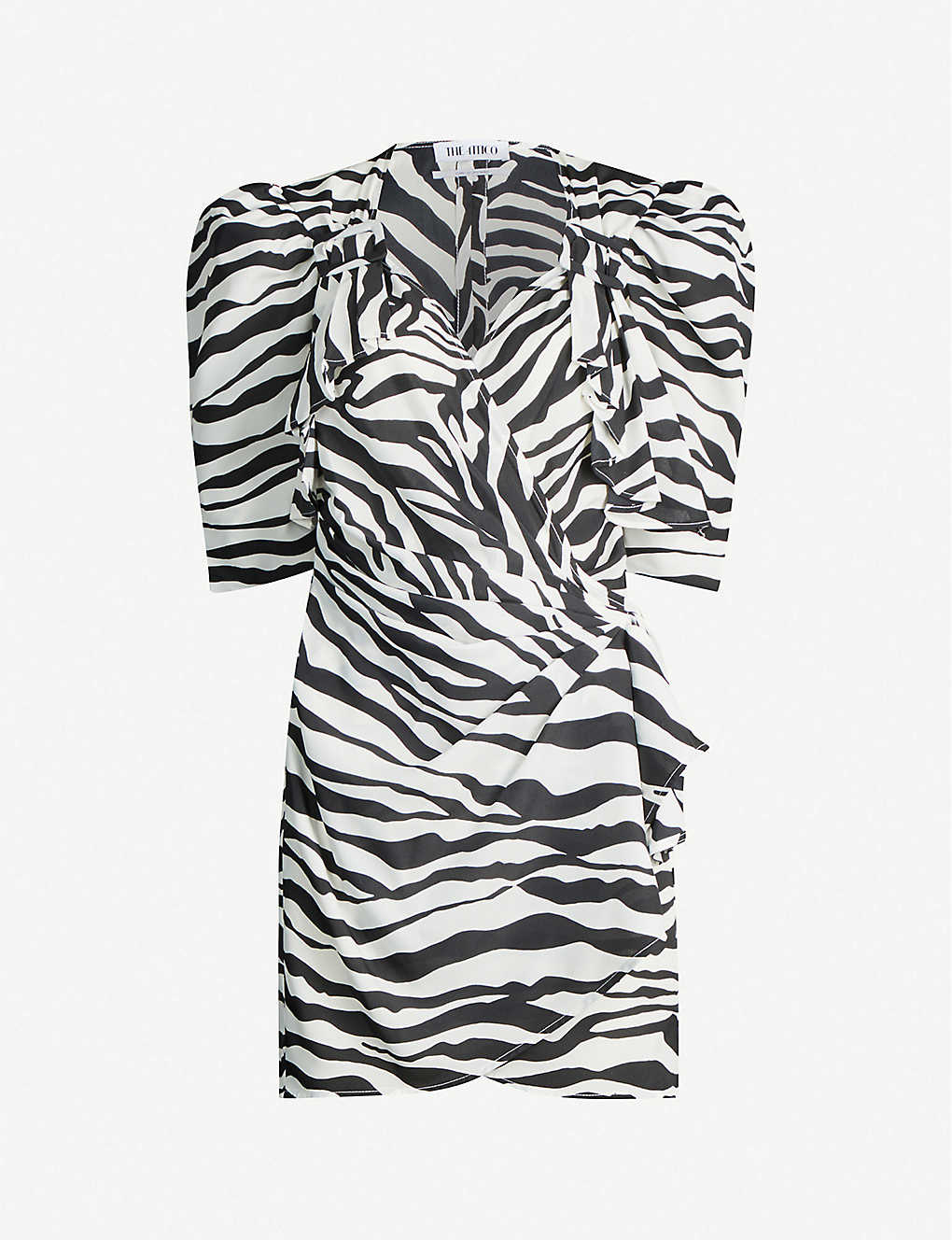 ATTICO: Puffed-sleeve zebra-print crepe mini dress