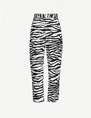 ATTICO: Zebra-print high-rise cotton-twill trousers
