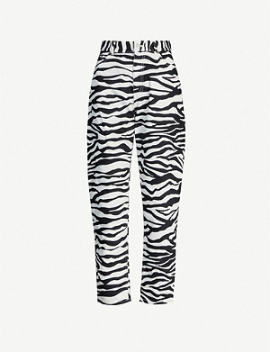 ATTICO Zebra-print high-rise cotton-twill trousers
