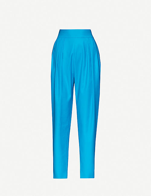 ATTICO: Straight-leg high-rise stretch-cotton trousers