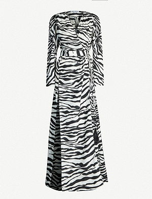 ATTICO Zebra-print satin-crepe maxi wrap dress