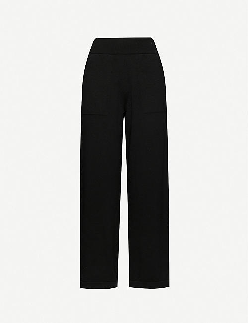 BARRIE Flared high-rise cashmere trousers