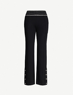 BARRIE High-rise flared cashmere trousers