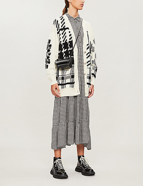 BARRIE Checked logo-print cashmere cardigan