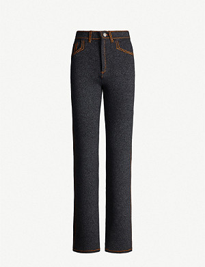 BARRIE High-rise cashmere-blend trousers