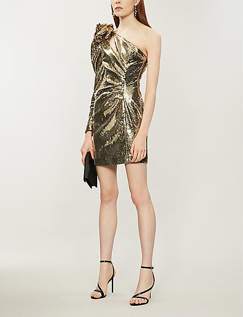 DUNDAS One-shoulder sequinned dress