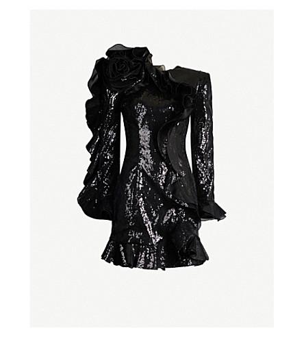 Dundas Ruffled Long-Sleeve Sequined Mini Dress In Black