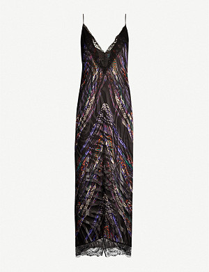 DUNDAS Lace-trimmed feather-print satin midi dress