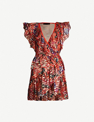 DUNDAS Printed V-neck lamé mini dress
